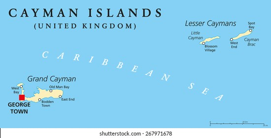 Cayman Islands Political Map with capital George Town and important places. A British Overseas Territory in the western Caribbean Sea. English labeling and scaling. Illustration.