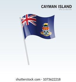 Cayman Islands waving flag isolated on gray background