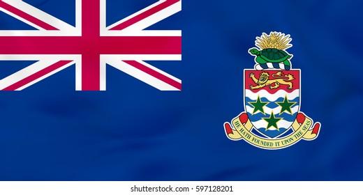 Cayman Islands waving flag. Cayman Islands national flag background texture. Vector illustration.