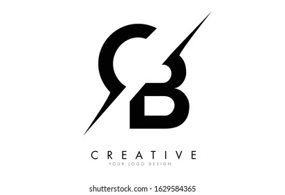CB C B Letter Logo Design with a Creative Cut. Creative logo design..