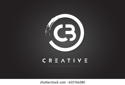 CB Circular Letter Logo with Circle Brush Design and Black Background.