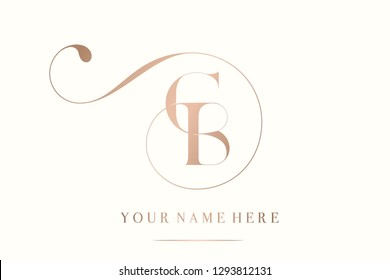 CB monogram.Typographic logo with uppercase letter c and letter b overlapped.Luxury style lettering icon with decorative swirl in rose gold metallic color isolated on light background.
