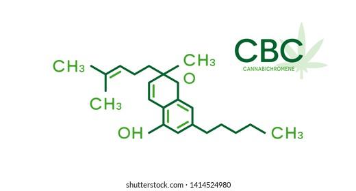 CBC molecular formula. Cannabichromene molecule structure on white background.