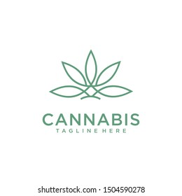 CBD Cannabis Marijuana Hemp Pot leaf with line art logo design inspiration