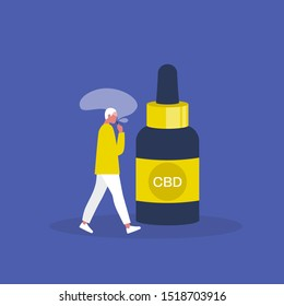 CBD. Cannabis. Medicine. Young male character smoking a vape. Hemp oil. Modern lifestyle. Millennials. Flat editable vector illustration, clip art