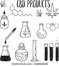 CBD and chemistry set. Pipette or dropper with hemp oil, glass tubes with cannabidiol liquid. Vector hand drawn illustration isolated on white background. Flat, cartoon style. Line art.