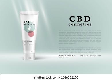 CBD cosmetics packaging design. Cannabis leaf illustration on CBD cosmetic tube. thc free cosmetics.