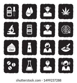 Cbd Icons. Grunge Black Flat Design. Vector Illustration.