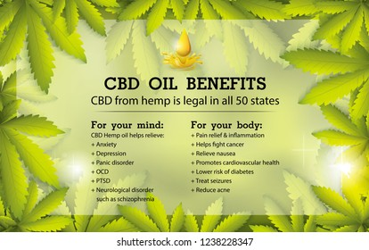 CBD oil benefits,Medical uses for cbd oil and hemp is legal in all 50 states.