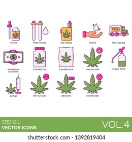 CBD oil icons including tincture, water soluble, vaping, topical, free shipping, money back guarantee, cannabis jar, sack, premium, dropper bottle, syringe, pure, brand, certified.