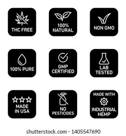 CBD oil icons set including THC free, 100% natural, non GMO, 100% pure, fluid, GMP certified, lab tested,  made in USA, no pesticides, made with industrial hemp - Vector