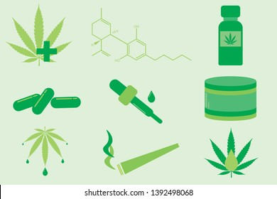 CBD oil and Marijuana Vector Icons - 9 different icons including a joint, a jar, an eye dropper, capsules, and more