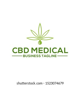 CBD Oil.Marijuana leaf. Medical cannabis. Hemp oil. Cannabis extract. Icon product label and logo graphic template. Isolated vector illustration