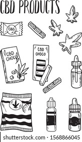 CBD products. Chocolate, candies, jelly beans with cannabis, marijuana, vape bottles with hemp. Vector hand drawn illustration isolated on white background. Flat, cartoon style, line art.