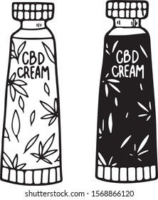 CBD products. Cream jar with hemp oil. Container for natural cosmetics with cannabidiol. Vector hand drawn illustration isolated on white background. Flat, cartoon style, line art.