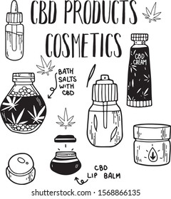 CBD products. Set of natural cosmetics with hemp oil. Different bottles, dispenser, cream jar, tube. For shampoo, bath salts, lip balm, lotion, gel with medical cannabis. Vector illustration. line art