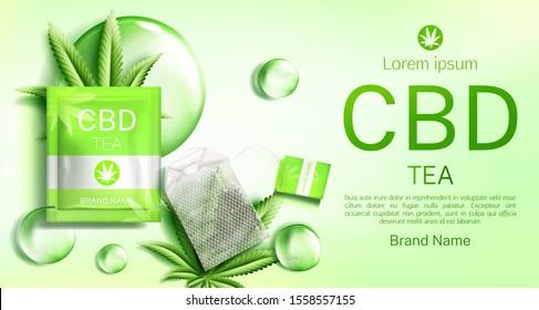Cbd tea bag package mock up banner. Teabag with cannabis leaves organic herbs beverage advertising mockup. Hemp cannabinoid extract. Legal marijuanna weed thc product. Realistic 3d vector illustration