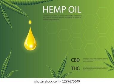 CBD, THC Marijuana and cannabis oil drop vector. Green Marijuana Leaves, Marijuana and cannabis products, Hemp oil, Cannabis leaf, pills and capsules.
