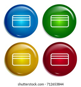 Cblueit card multi color gradient glossy badge icon set. Realistic shiny badge icon or logo mockup