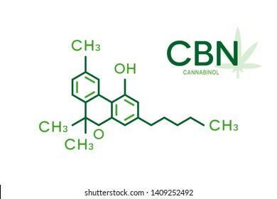 CBN molecular formula. Cannabinol molecule structure on white background.