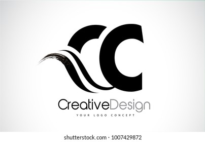 CC C C Creative Modern Black Letters Logo Design with Brush Swoosh