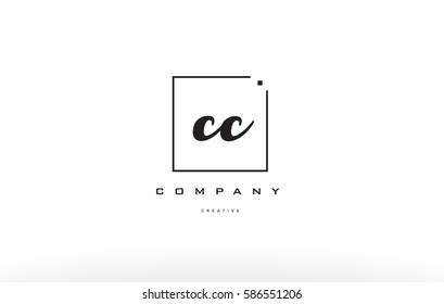 cc c c hand writing written black white alphabet company letter logo square background small lowercase design creative vector icon template