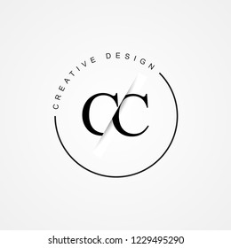 CC C C Initial Logo. Cutting and linked letter logo icon with paper cut in the middle. Creative monogram logo design. Fashion icon design template.