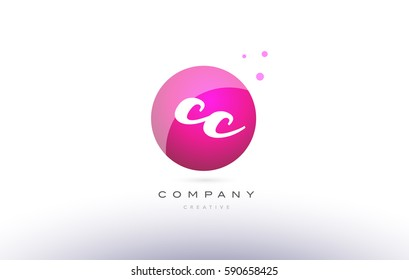 cc c c  sphere pink 3d alphabet company letter combination logo hand writting written design vector icon template