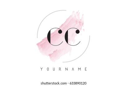 CC C C Watercolor Letter Logo Design with Circular Shape and Pastel Pink Brush.