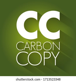 CC - Carbon Copy acronym, concept background