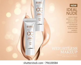 CC cream ads, pearl white tube with creamy texture liquid in 3d illustration isolated on glitter bokeh background