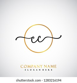 CC Initial Handwriting logo template vector