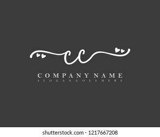 CC Initial handwriting logo vector