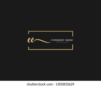 CC Initial handwriting logo vector. Hand lettering for designs.