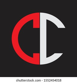 CC Initial Logo design Monogram Isolated on black background