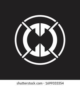 CC Logo monogram with four part circle slash rounded design template