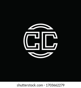 CC logo monogram with negative space circle rounded design template
