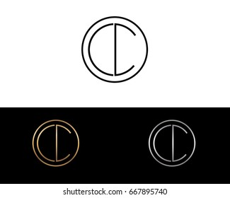 CC round circle shape initial letter logo