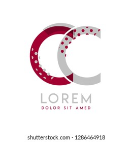 CC simple logo design with Gray and maroon color that can be used for creative business and advertising. CC logo is filled with bubbles and dots, can be used for all areas of the company