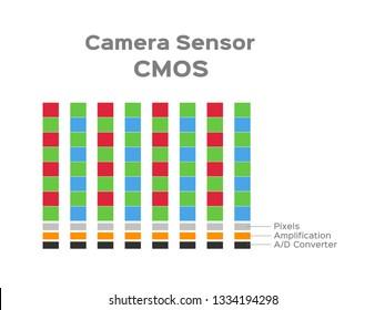 ccd and cmos sensor vector / camera sensor