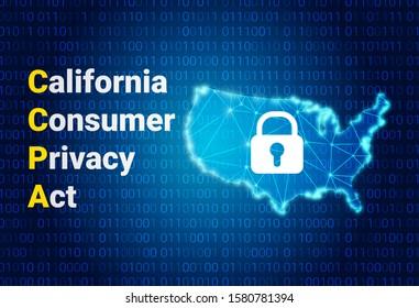 CCPA - California Consumer Privacy Act. Vektorhintergrund. Datensicherheit in den USA. Verbraucherschutz für Einwohner Kaliforniens, USA.