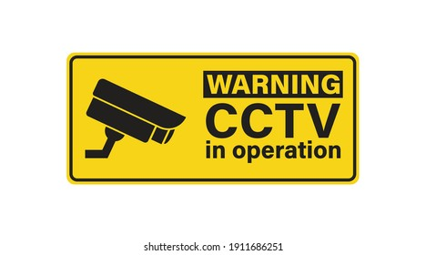 CCTV, attention sign video surveillance. Camera security icon. Vector isolated illustration
