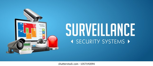 CCTV camera and DVR - digital video recorder - security system concept - website banner