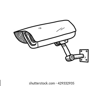 CCTV Camera, a hand drawn vector doodle illustration of a CCTV camera.