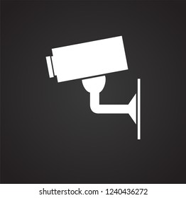 CCTV camera icon on black background for graphic and web design, Modern simple vector sign. Internet concept. Trendy symbol for website design web button or mobile app.