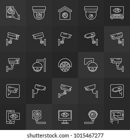 CCTV camera minimal icons. Vector security surveillance video camera outline signs on dark background