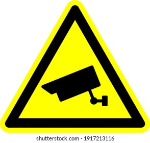 CCTV camera symbol sign. Warning symbol for notice this area has camera recording operation. Yellow and black triangular sign or icon symbol.