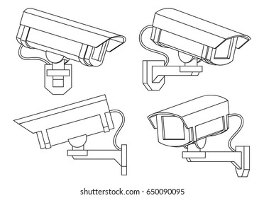 cctv camera in thin line style