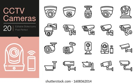 CCTV Cameras & Security Camera Systems icons. Modern line design. For presentation, graphic design, mobile application, web design, infographics, UI. Editable Stroke. Vector illustration.