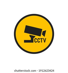 CCTV icon set. Security camera illustration symbol. Safety video sign, warning concept in vector flat style.